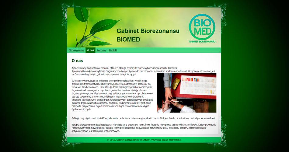 Projekt strony internetowej Biomed